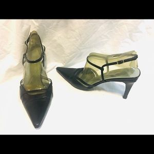 GUCCI LEATHER ANKLE WRAP HEELS SHOES Sz 8 B